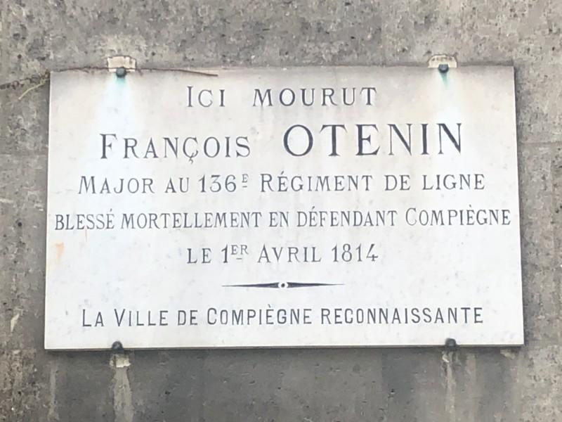 Plaque FRANCOIS OTENIN à Compiègne (France – Oise)