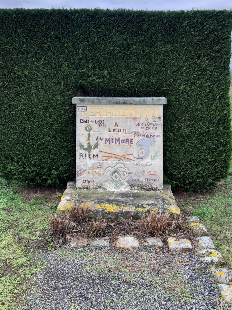 Stèle commémorative de la bataille du Matz à Canny Sur Matz (France – Oise)
