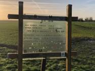 Stèle marquant la limite de l'offensive Allemande lors de la Bataille du Matz à Antheuil Portes (France – Oise)