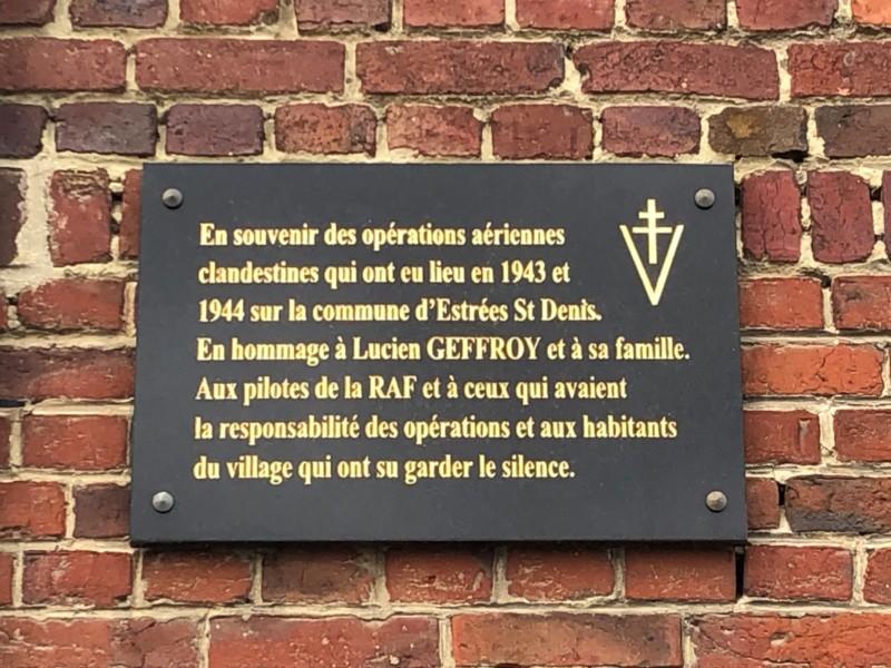 Plaque de la résistance à Estrée Saint Denis (France – Oise)