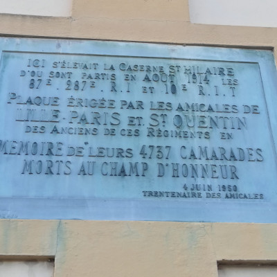 Plaque commemorative caserne st hilaire (France – Aisne)