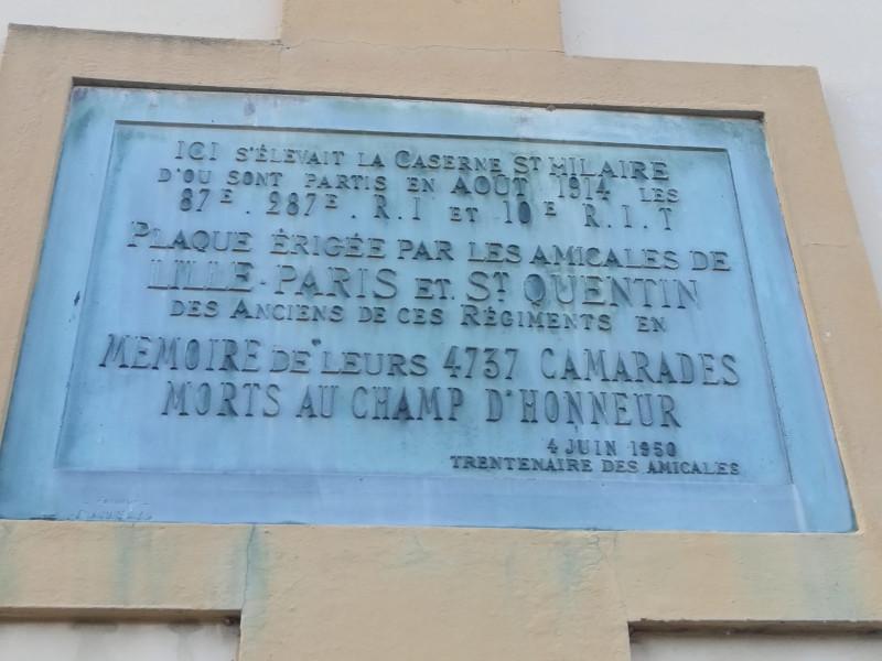 Plaque commemorative caserne st hilaire (France – Aisne)